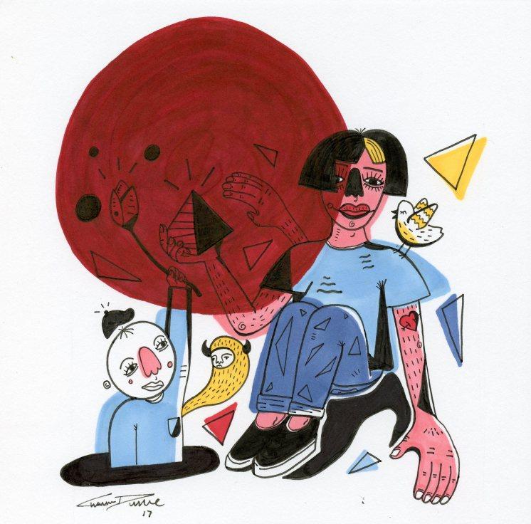 Big Red Dot – pen & ink