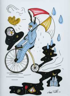 Lewis: Bike Ride – pen & ink