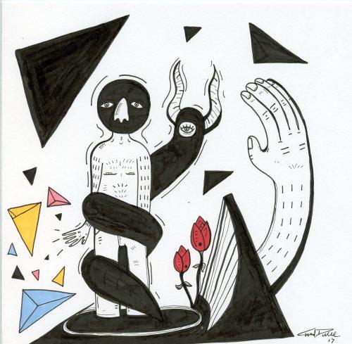 "Zipper – 9""x9"" pen & ink on paper"