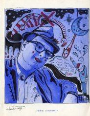 John D Loudermilk pen & ink on found image