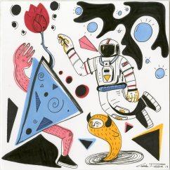 """(SOLD) Space Brigade – 9""""x9"""" pen & ink on paper"""