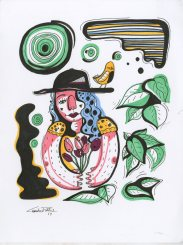 """The Gardener 9"""" x 12"""" pen & ink on paper"""