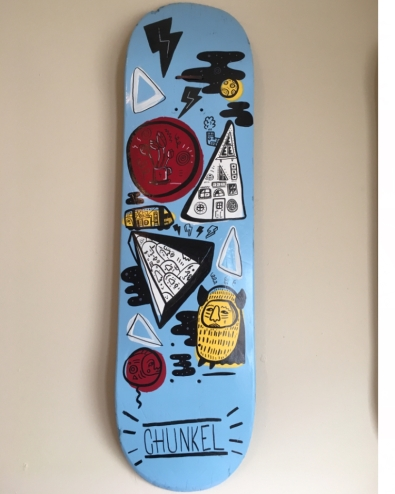 Acrylic Paint on Skateboard