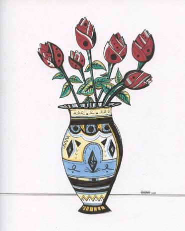 "Vase of Roses | 8"" x 10"" | Ink on Paper"