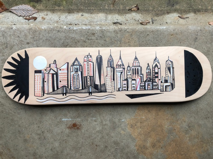 Hand painted skateboard