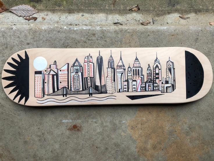 Hand painted skateboard