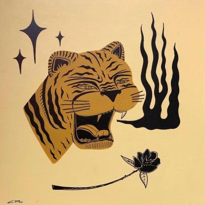 TigerFireRosePainting
